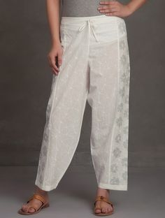 Ivory-Grey Block Printed Tie-Up Waist Cotton Pants Plazzo Pants, Salwar Pants, Trouser Pants, Pakistani Fashion Casual, Pakistani Dress Design, Pakistani Outfits, Kurti Embroidery Design, Embroidery Suits, Dress Neck Designs