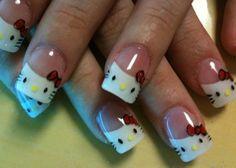 Uñas de Hello Kitty - Hello Kitty nails manicure