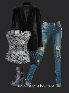 """damask style corset! Pair it with some ripped jeans and some cute """"Rowena"""" boots and watch out world! Sexy sexy sexy! www.steam-boots.ca"""