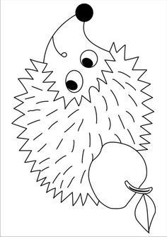 Hedgehog idea to go with book, Apple Trouble Fall Arts And Crafts, Autumn Crafts, Autumn Art, Crafts For Kids, Applique Designs, Embroidery Designs, Body Craft, Hedgehog Craft, Fall Coloring Pages