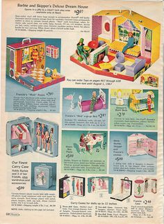 Barbie and Skipper's Deluxe Dream House, Francie's House and Furniture from the Sears Christmas Catalog, 1966