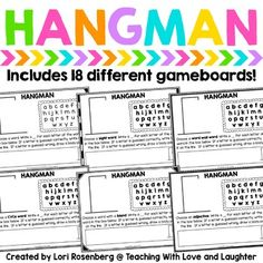 Your students will love to practice their sight words, spelling, and vocabulary words by playing Hangman. Grammar Activities, Sight Word Activities, Vocabulary Games, Vocabulary Words, Grammar Games, Reading Skills, Teaching Reading, Teaching Ideas, Reading Groups