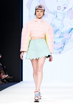 H Design Award - Stockholm Fashion Week 2013 - Graphic scallop edged skirt, with oversized pastel knitwear and cute collar