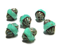 Sale  Czech Glass Green Turquoise Picasso by vintagebeadery