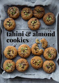 5 Ingredient Vegan Almond And Tahini Cookies - Cook Republic - Vegan Almond & Tahini Cookies – Cook Republic # - Gourmet Cookies, Healthy Cookies, Healthy Sweets, Healthy Baking, Healthy Snacks, Cookies Vegan, Healthy Breakfasts, Eating Healthy, Vegan Dessert Recipes