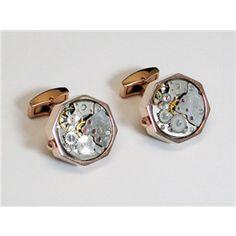 Rose Gold Hexagon Watch Movement Cufflinks $59.95/pair