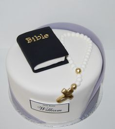 Modern, clean and simple Boys Communion Cake