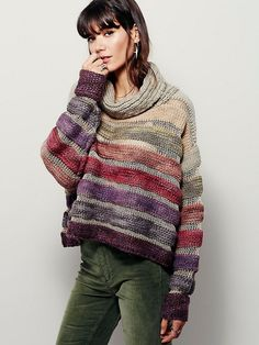 New Romantics Solstice Sweater | So soft and cozy wool-blend pullover sweater with oversized turtleneck in an allover slouchy fit. Featuring cascading striped colors, and sheer metallic knit mesh.