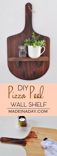 DIY Pizza Peel Paddle Wall Shelf, Cuisine Board, Pizza Paddle, conversation piece, tutorial on madeinaday.com