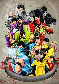 MK Ninjas. Top left to bottom right: Smoke, Noob Saibot, Rain, Ermac, Reptile, Sub-Zero, Scorpion.