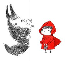 Red Riding Hood and Shadow Wolf by Hiro Kawahara, via Behance Red Riding Hood Wolf, Little Red Ridding Hood, Children's Book Illustration, Illustrations, Charles Perrault, Shadow Wolf, Red Hood, Little Pigs, Fairy Tales