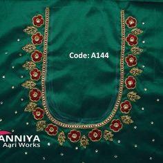 Wedding Saree Blouse Designs, Best Blouse Designs, Simple Blouse Designs, Blouse Neck Designs, Blouse Patterns, Aari Embroidery, Embroidery Neck Designs, Embroidery Works, Embroidery Blouses