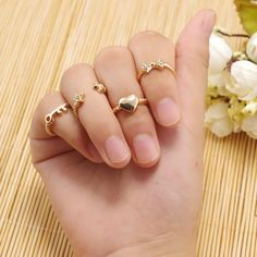 6pcs/set Finger Rings Set Heart Bowknot Mid Knuckle New Gold Silver Rhinestone Ring For Female Women fine Jewelry 0270