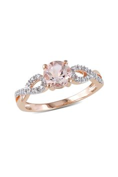 Beautiful 10K Rose Gold Diamond & Morganite Fashion Ring