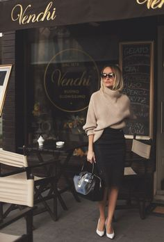 camel sweater + lace black skirt