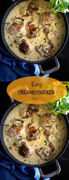 Easy Cooking, Cooking Recipes, Creamy Garlic Chicken, Chicken Kitchen, Chicken Recipes Video, Fusion Food, Delicious Dinner Recipes, Kitchen Recipes, Delish