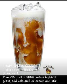 Malibu Rum sundae shake