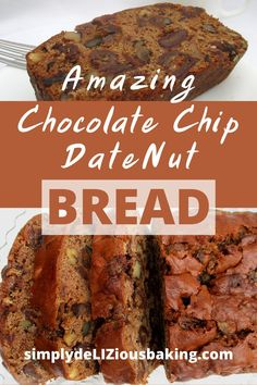 Amazing Chocolate Chip Date Nut Bread is the perfect blend of dates, chocolate chips and nuts. The melody of these flavors in this moist loaf will make your taste buds sing. You will sing for joy… Nut Bread Recipe, Easy Bread Recipes, Quick Bread, How To Make Bread, Baking Recipes, Delicious Recipes, Baking Tips, Muffin Recipes, Yummy Food