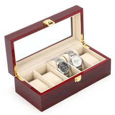 Free Shipping 5 Slots Watch Display Box Light Red Watch Storage Case MDF Watch Organizer Brand Jewelry Watch Box Holder D022