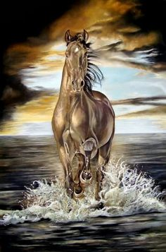 Freedom, a Beautiful Wild Seal Brown Mustang Merging From the Sea. (by Kim Irwin). Beautiful Horse Pictures, Beautiful Horses, Horse Drawings, Animal Drawings, Horse Wallpaper, Horse Artwork, Equine Art, Pretty Horses, Horse Photography