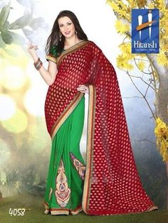 Product not found! Georgette Sarees, Red Green, Chiffon, Sari, Wednesday, Fabrics, Facebook, Design, Fashion