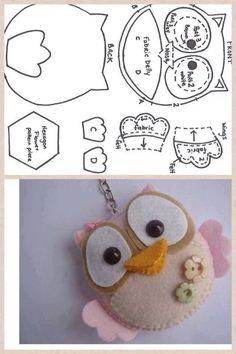 best ideas about Felt owl pattern Felt Owls, Felt Birds, Felt Animals, Owl Patterns, Craft Patterns, Fabric Crafts, Sewing Crafts, Craft Projects, Sewing Projects