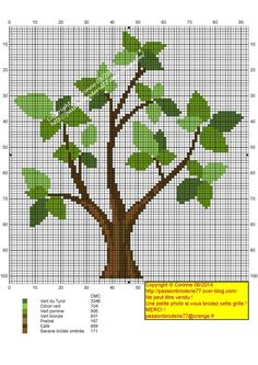 Tronc court Cross Stitch Tree, Cross Stitch Borders, Modern Cross Stitch Patterns, Cross Stitch Charts, Cross Stitch Designs, Cross Stitching, Cross Stitch Embroidery, Canvas Template, Easy Cross