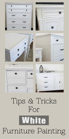 After painting many pieces of furniture white, here are some helpful tips to help you avoid some of the problems that can go along with white furniture painting. View the tips through the slideshow...