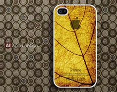 unique iphone 4 case beautiful iphone 4s case iphone 4 cover classic old yellow leaf graphic design printing. $13.99, via Etsy.