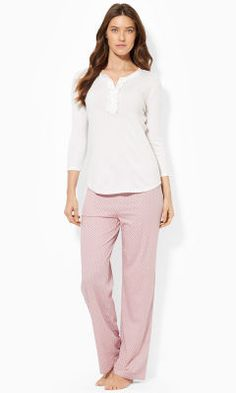 Ruffled-Trim Henley - Lauren Sleepwear & Robes - RalphLauren.com