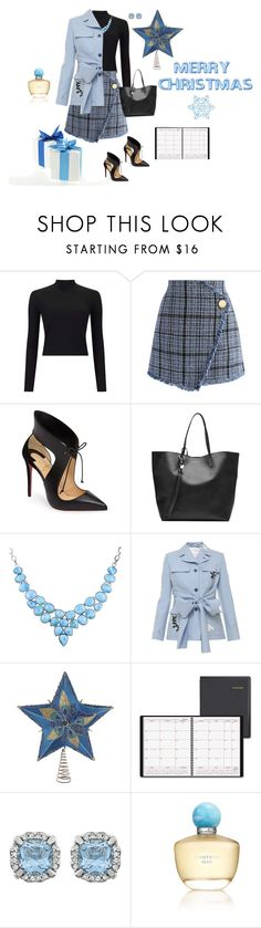 """""""Frosty Christmas 🎄"""" by jbeb ❤ liked on Polyvore featuring Miss Selfridge, Chicwish, Christian Louboutin, Alexander McQueen, Jonathan Saunders, Kurt Adler, AT-A-GLANCE and Oscar de la Renta"""