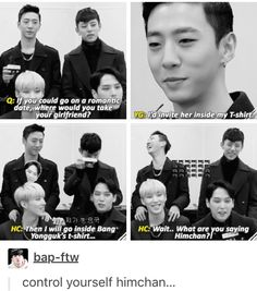I can definitely see a new romance here hahaha <3 bap #yongguk #himchan #banghim
