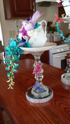 Wedding centerpiece. My Floral tea cup creation. By Rosa C.
