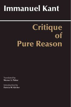 Like Werner Pluhar's distinguished translation of Critique of Judgment (Hackett Publishing Co., 1987), this new rendering of Critique of Pure Reason reflects the elegant achievement of a master transl