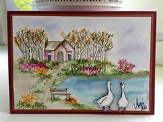 Art Impressions Watercolor.  cottage, geese, bench, trees, flowers, foliage, water