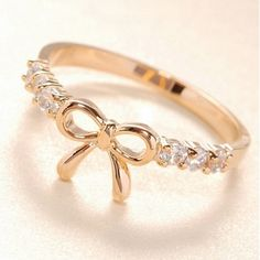 Adorable Bow Design Crystal Embellished        cute ring