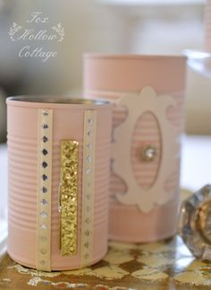 Love !! DIY-  So Sweet And So Simple to Create ! Shabby Pink Tin Can Storage  !