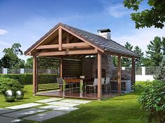 Have you prepared your garden for a beautiful one? # house # home # house # garden # garde Backyard Pavilion, Backyard Patio, Backyard Landscaping, Modern Gazebo, Gazebos, Outdoor Fireplace Designs, Woodland House, Cottage Farmhouse, Outdoor Living