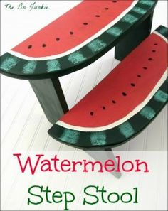 watermelon step stool - need skills/tools in woodworking for this idea via katherinescorner.com