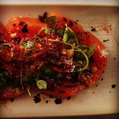 New Frontera menu hilite: almost spring salad of caracara orange, spiral beet/carrot,pea shoots,guajillo vinaigrette