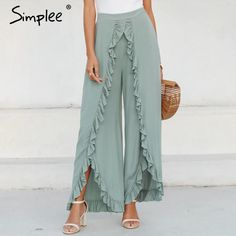 To find out about the Simplee Slit Hem Ruffle Trim Wide Leg Pants at SHEIN, part of our latest Pants ready to shop online today! Fashion Pants, Fashion Dresses, Modelos Fashion, Ruffle Pants, Pants For Women, Clothes For Women, Wide Leg Trousers, Pattern Fashion, Stylish