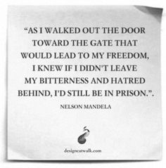 Learning to let go. Inspiration from Nelson Mandela