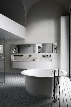 Bathroom, Awesome Contemporary White Rounded Bathtub Design With Hardwood Floor Chrome Faucet Sink Mirror On Wall Glass Shower Stool: Contemporary Bathtub Displaying Amazing Appearance Bad Inspiration, Bathroom Inspiration, Small Bathroom, Master Bathroom, Bathroom Taps, White Bathroom, Deco Zen, Interior Architecture, Interior Design