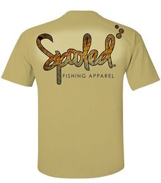 CLEARANCE PERFORMANCE SHORT SLEEVE TAN WITH SPOOLED REDFISH SKIN LOGO SPF-30  #spooledfishingapparel #spooled #fishing #redfish