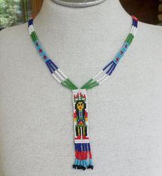 Vintage Southwestern Seed Bead Necklace Fringe Multi Color #Unbranded