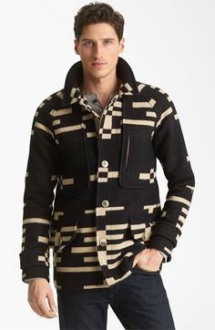 Pendleton Portland Collection 'Archive' Virgin Wool Coat with Genuine Shearling Collar | Nordstrom