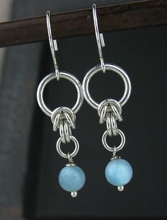 Blue Larimar Chainmaille Earrings Blue Stone by LoneRockJewelry