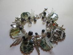 Walking Dead Charm  Bracelet    /  Extra full with  Black beads  / ITEM 3605