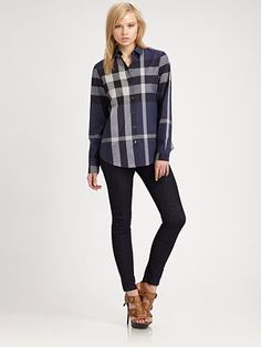 Burberry Brit  Checked Button-Down Shirt