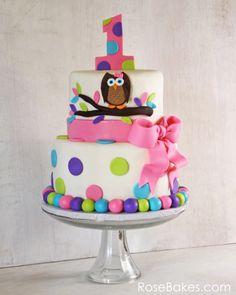 Owl Cake for Twins 1st Birthday Cake